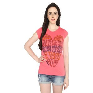P-nut Womens Pink Printed Cotton T-shirt(code-basic_6_b)