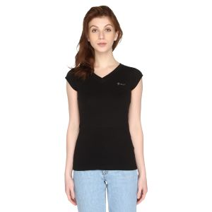 P-nut Womens Solid V-neck Cotton Top(code-om1031-i)