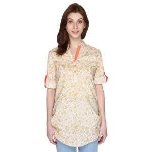 P-nut Womens Floral Printed Cotton Top With 3/4th Sleeves(code-om363-a)