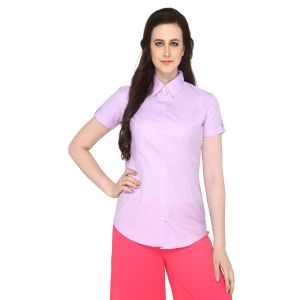 P-Nut Women's Solid Lilac Cotton Shirt OM375A