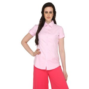 P-Nut Women's Solid Pink Cotton Shirt OM375B