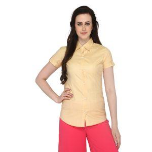P-Nut Women's Solid Gold Cotton Shirt OM375D