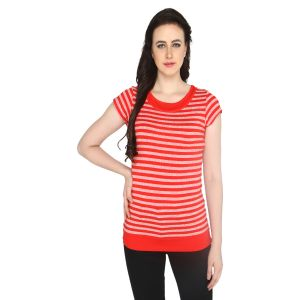 T Shirts (Women's) - P-Nut Women's Round Neck Striped Casual T-shirt OM381B
