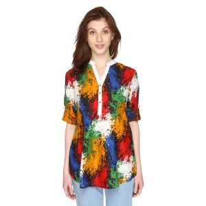 P-nut Womens Multicoloured Printed Cotton Top With 3/4th Sleeves(code-om386-a)