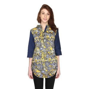P-nut Womens Printed Cotton Top With 3/4th Sleeves(code-om399-a)