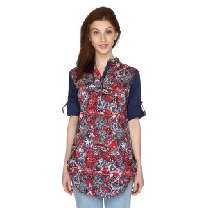 P-nut Womens Printed Cotton Top With 3/4th Sleeves(code-om399-b)