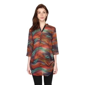 P-nut Womens Georgette Printed Top With 3/4th Sleeves(code-om406-b)
