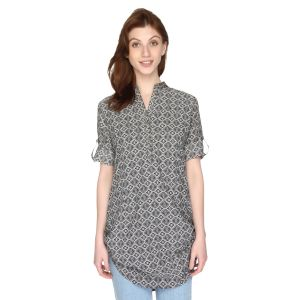 P-nut Womens Black & White Printed Cotton Top With 3/4th Sleeves(code-om412-a)