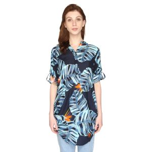 P-nut Womens Blue Printed Cotton Top With 3/4th Sleeves(code-om415-a)