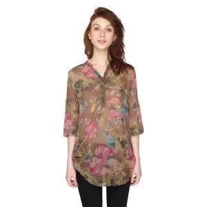 P-nut Womens Chiffon Georgette Floral Printed Top(code-om416-a)
