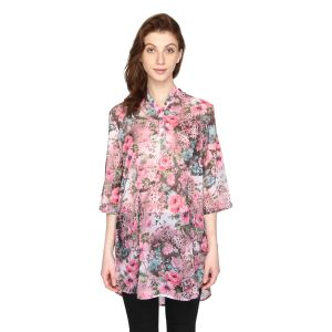 P-nut Womens Floral Printed Chiffon Georgette Top(code-om426-a)