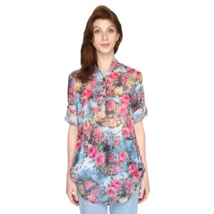 P-nut Womens Floral Printed Chiffon Georgette Top(code-om426-b)