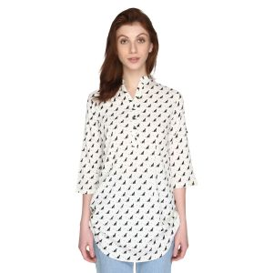 P-nut Womens White Cat Printed Cotton Top With 3/4th Sleeves(code-om430-a)