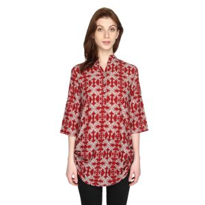 P-nut Womens Red Cotton Printed Top With 3/4th Sleeves(code-om433-a)