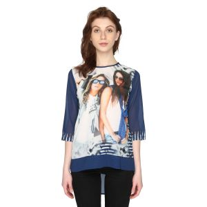 P-nut Womens Blue Georgette High Low Top With 3/4th Sleeves(code-om601-a)