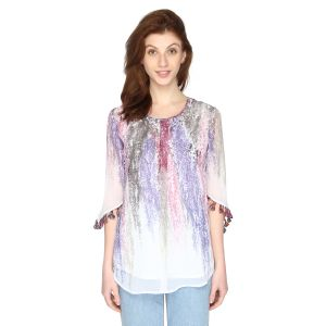 P-nut Womens Chiffon Georgette Printed Top With 3/4th Sleeves(code-om612-a)