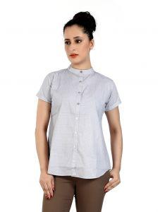Ladybond Smoke Grey Cotton Short Sleeve Shirt For Women IDS-2227