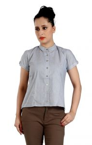 Ladybond Steel Grey Cotton Short Sleeve Shirt For Women