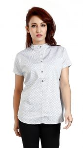 Ladybond White Cotton Short Sleeve Shirt For Women Ids-2229