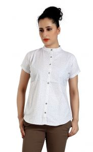 Ladybond White Cotton Short Sleeve Shirt For Women Ids-2230