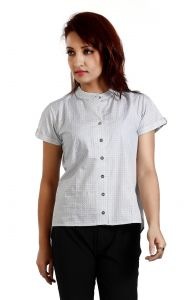 Ladybond White Cotton Short Sleeve Shirt For Women Ids-2231