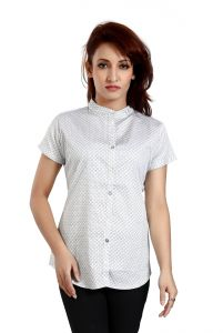 Ladybond White Cotton Short Sleeve Shirt For Women Ids-2232