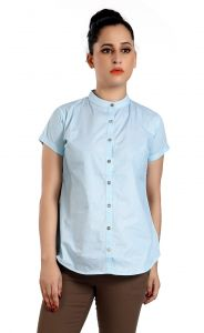 Ladybond Light Blue Cotton Short Sleeve Shirt For Women Ids-2233