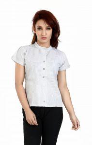 Ladybond White  Cotton Short Sleeve Shirt For Women IDS-2234