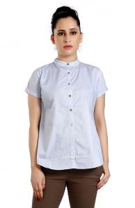 Ladybond Light Blue Cotton Short Sleeve Shirt For Women Ids-2235