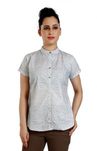 Ladybond Light Grey Cotton Short Sleeve Shirt For Women Ids-2237