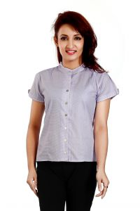 Ladybond Purple Cotton Short Sleeve Shirt For Women Ids-2238
