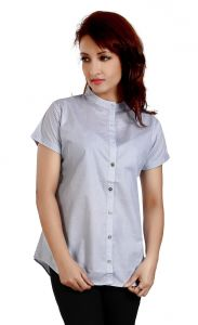 Ladybond Light Blue Cotton Short Sleeve Shirt For Women IDS-2240