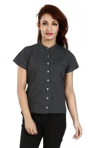 Ladybond Black Cotton Short Sleeve Shirt For Women Ids-2242