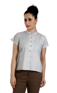 Ladybond Light Grey Cotton Short Sleeve Shirt For Women Ids-2243
