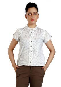 Ladybond White  Cotton Short Sleeve Shirt For Women IDS-2245