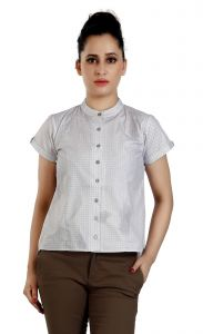 Ladybond Fossil Grey Cotton Short Sleeve Shirt For Women Ids-2247