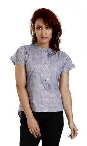 Ladybond Graphite Grey Cotton Short Sleeve Shirt For Women Ids-2248