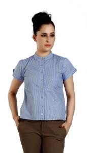 Ladybond Light Blue Cotton Short Sleeve Shirt For Women IDS-2249