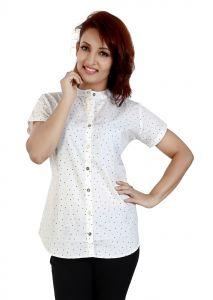 Ladybond White  Cotton Short Sleeve Shirt For Women IDS-2252