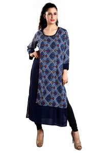 Ladybond Navy Blue Straight Cut Kurti With Jacket - (code - Lbk-158)