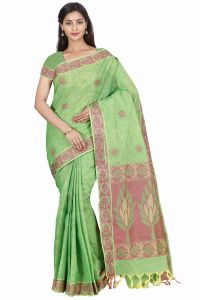 Marjoram Colors Green Color Pure Cotton Saree (mads5015)