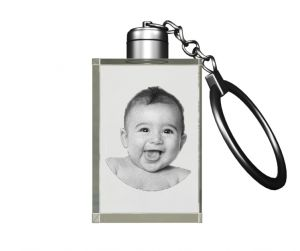 Personalized Gifts - Aadya 3D Crystal Engraved Gifts - Single Image 3D Photo Personalized Laser Engraved Crystal Cube Key Chain Multi Color LED Light