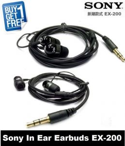 Earphones - Buy 1 Get 1 Free Sony Pouch Ex-200 Earphones Without Mic (black)