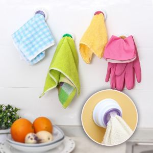 O General Home Decor & Furnishing - 2 Pcs Rubber Suction Pad Cloth Tea Towel Holder Rubber Push in Self-Adhesive Back