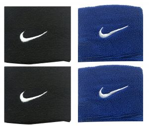 Sports Wrist Band Supporter Sweat Band (black And Blue) - 1 Pair Each