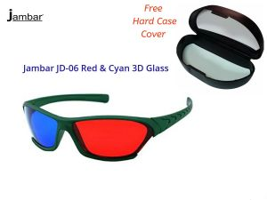 Tv & Video Accessories ,  - Jambar JD-06 Red & Cyan 3D Glass For 3D Video/Image/Books/Magazine free Hard Case Cover