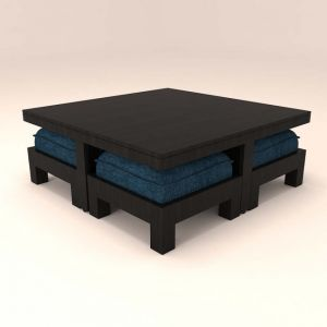 Caspian Large Blue Cushioned 4 Stool Coffee Table