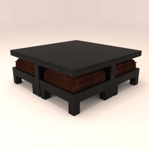 Caspian 4 Stool Coffee Table With Dark Brown Cushions
