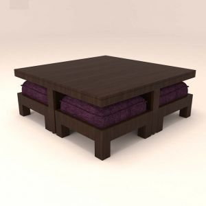 Caspian Living Room Table With 4 Stool And Magenta Cushions