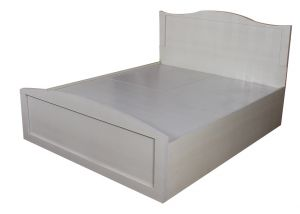 White Queen Size Textured Bed With Storage